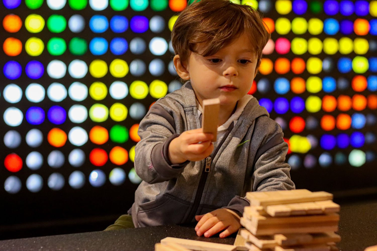 Toddler Playing with Blocks in Boise Discovery Center