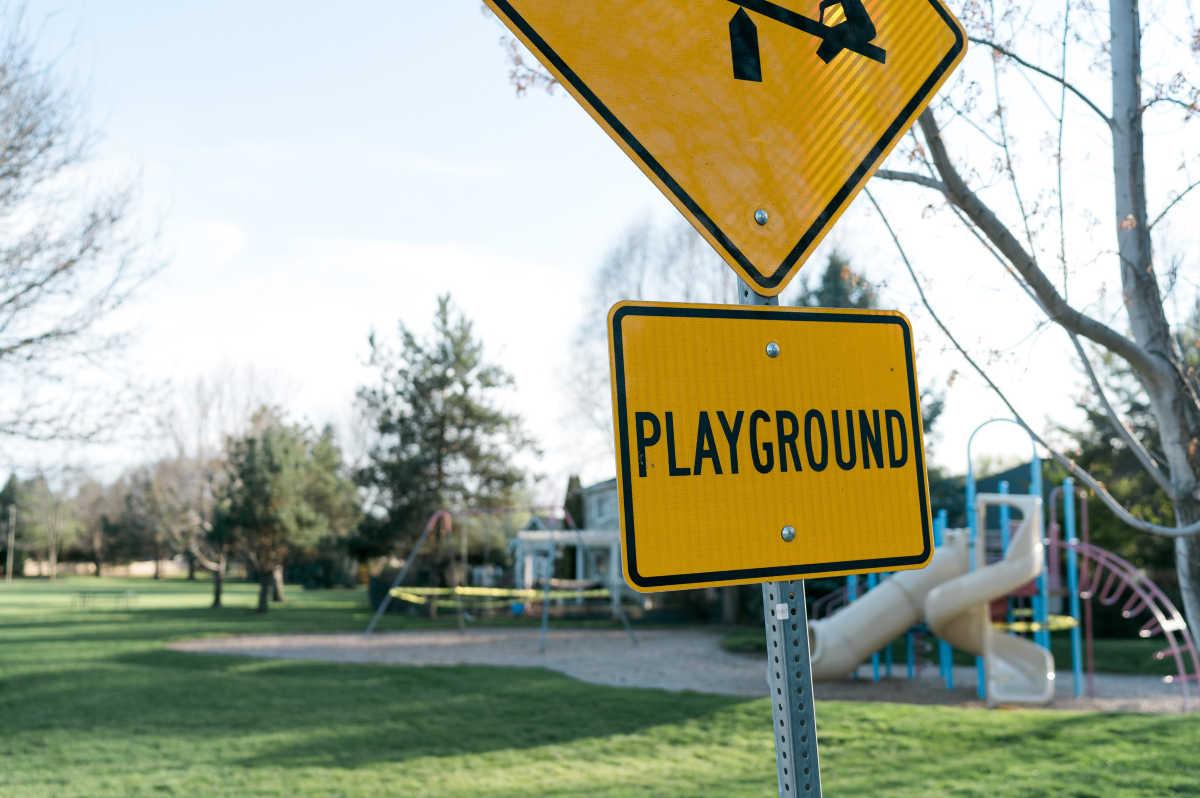 Playground sign in Boise Idaho