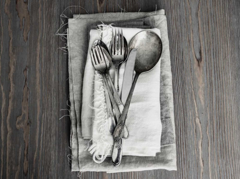 Utensils and napkins for a road trip