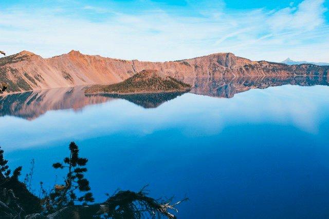 Deep blue lake at Crater National Park