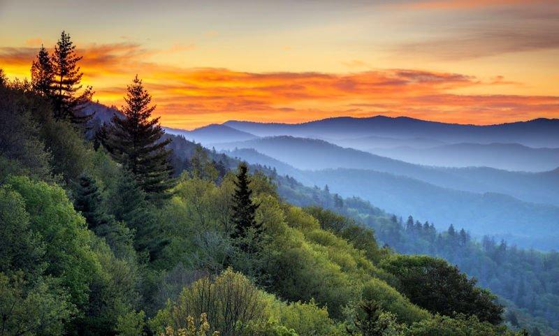 Sunrise at east coast national park Great Smoky Mountains