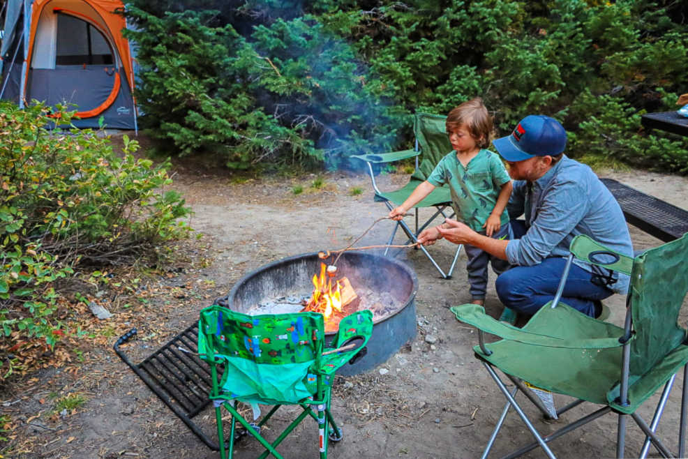 Father and toddler boy roasting marshmallows in a campsite/