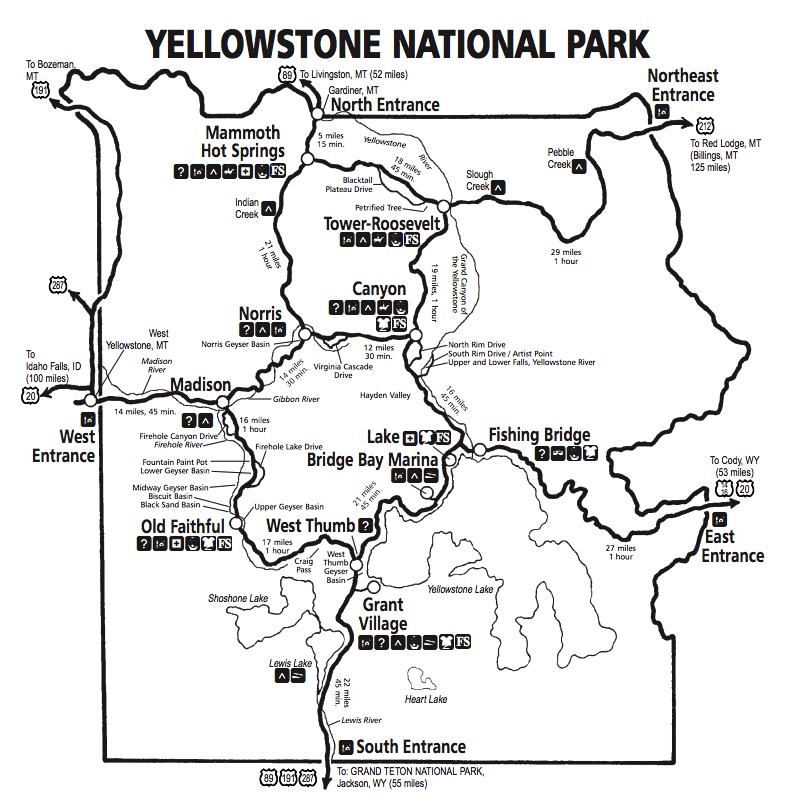 driving time map of yellowstone national park