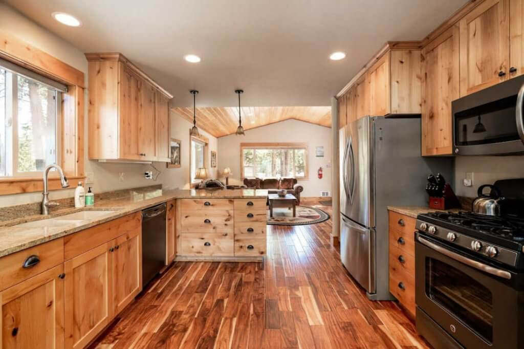 rustic kitchen cabin yellowstone airbnbs