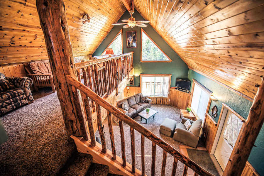 lofted second floor in yellowstone airbnb cabin
