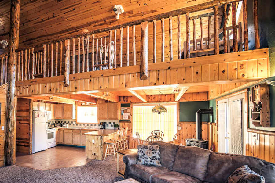two story cabin with lofted upstairs