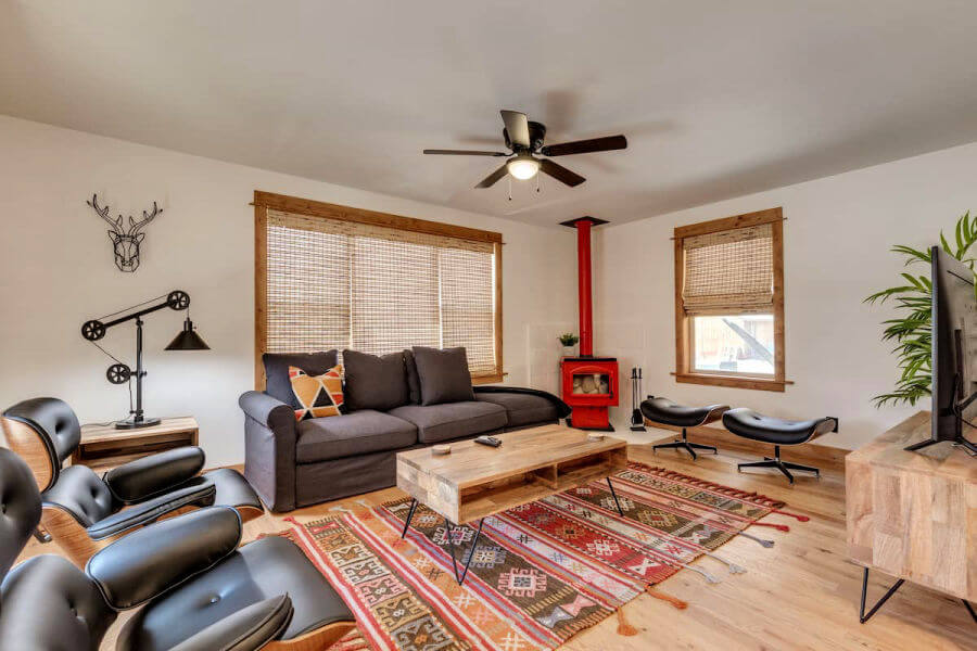 trendy living room with Native American rugs