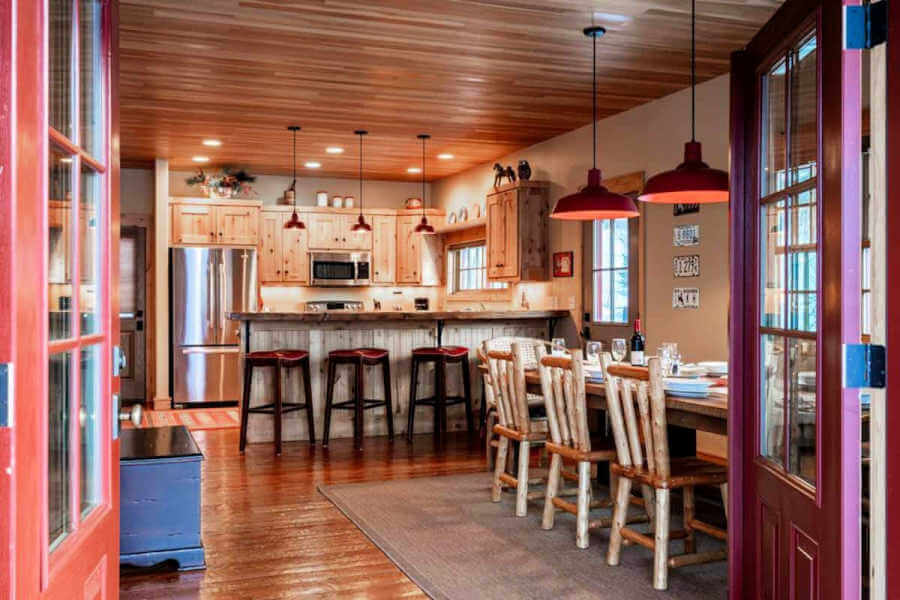 View into cozy cabin kitchen