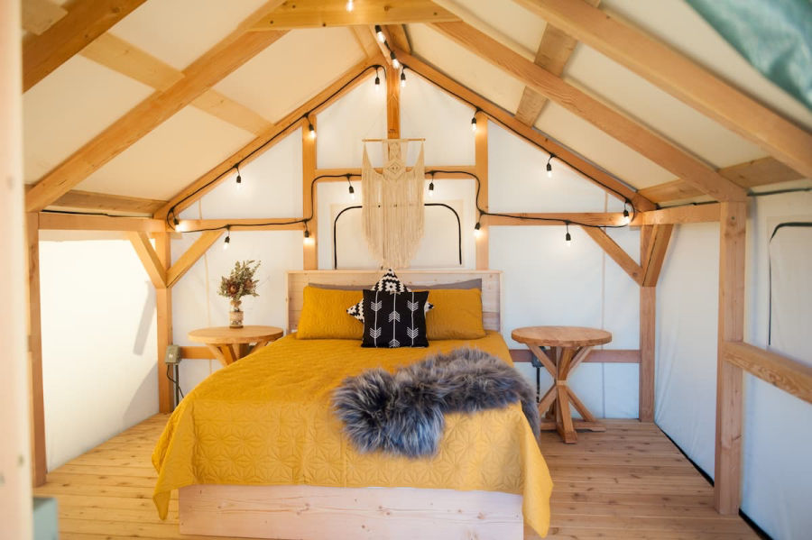 glamping tent with queen sized bed