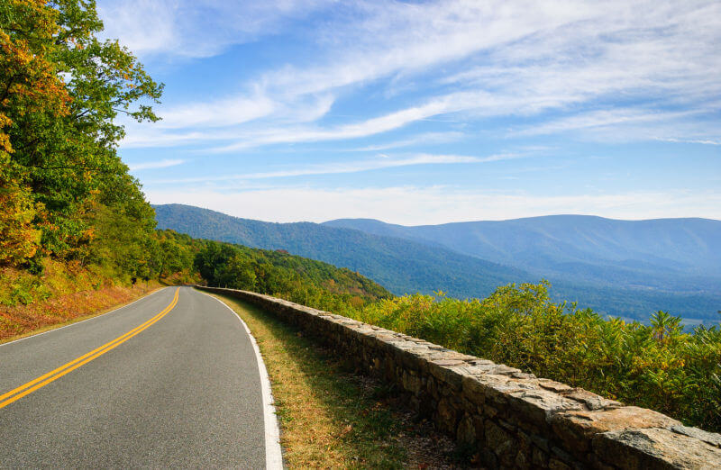 Infamous roam in Shenandoah National Park that overlooks the valley