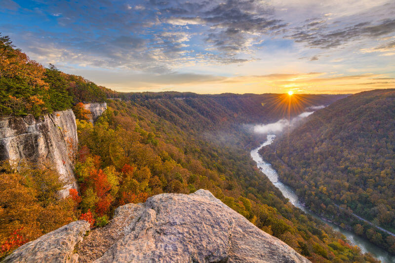 autumn morning lanscape looking over New River Gorge in West Virgnia.