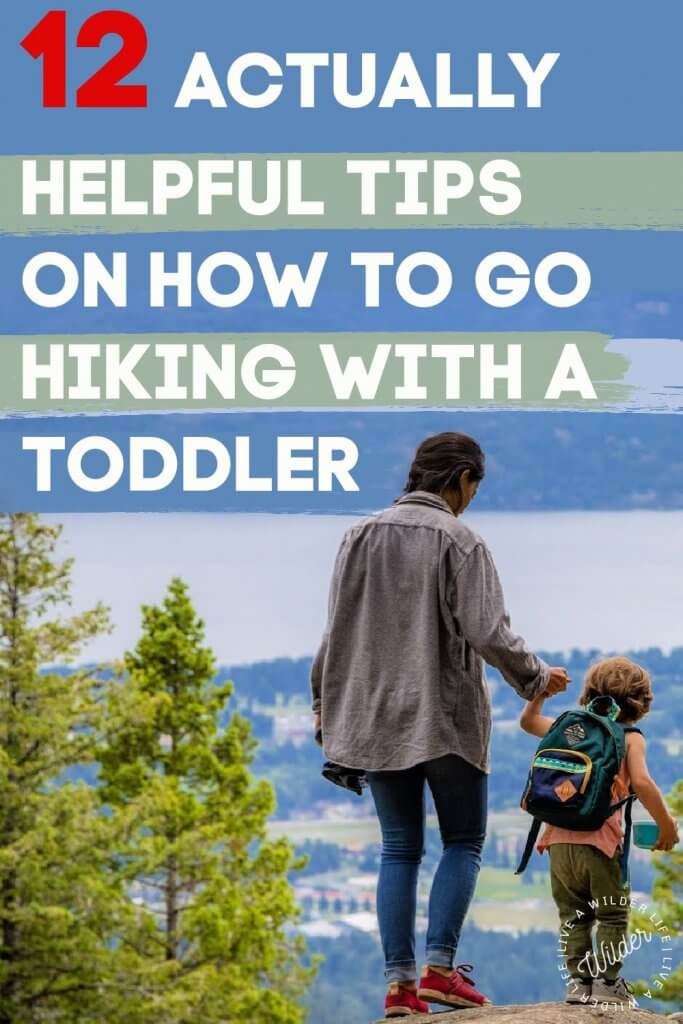 Pinterest graphic with mom hiking with a toddler. Written on the pin  are the words, '12 actually helpful tips for hiking with toddlers.""