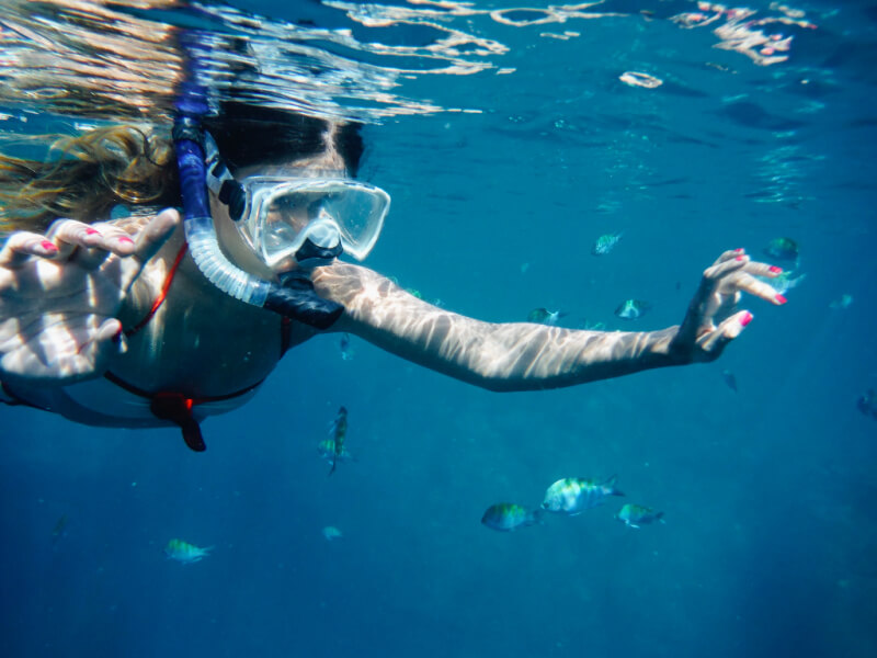 a woman snorkeling in clear water with fish surrounding her.
