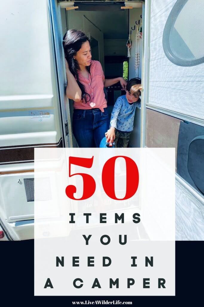 PINTEREST graphic about 50 camper must haves