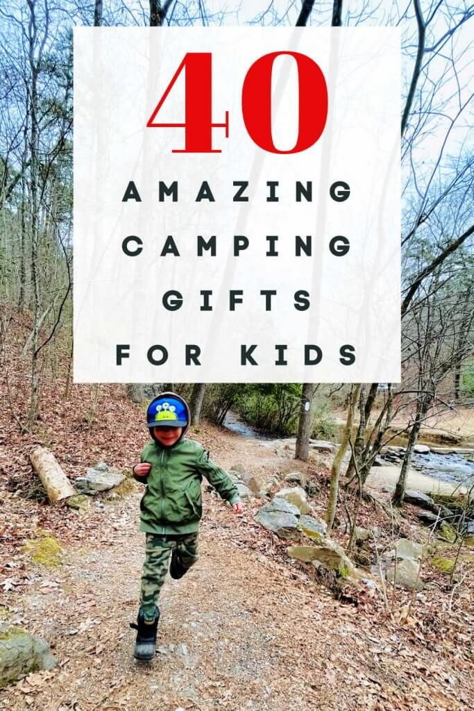 """Pinterest graphic with title """"40 amazing camping gifts for kids"""""""
