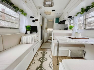 bright white camper renovation with farmhouse elements