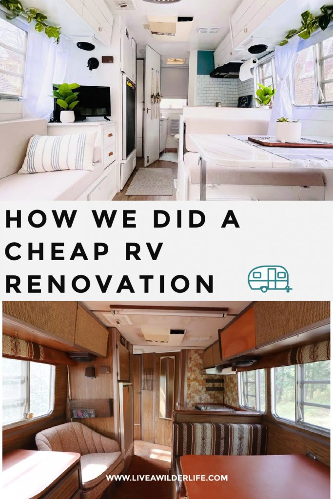 """Pinterest graphic about """"how we did a cheap  rv renovation"""