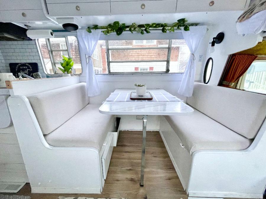 white interior for renovated camper
