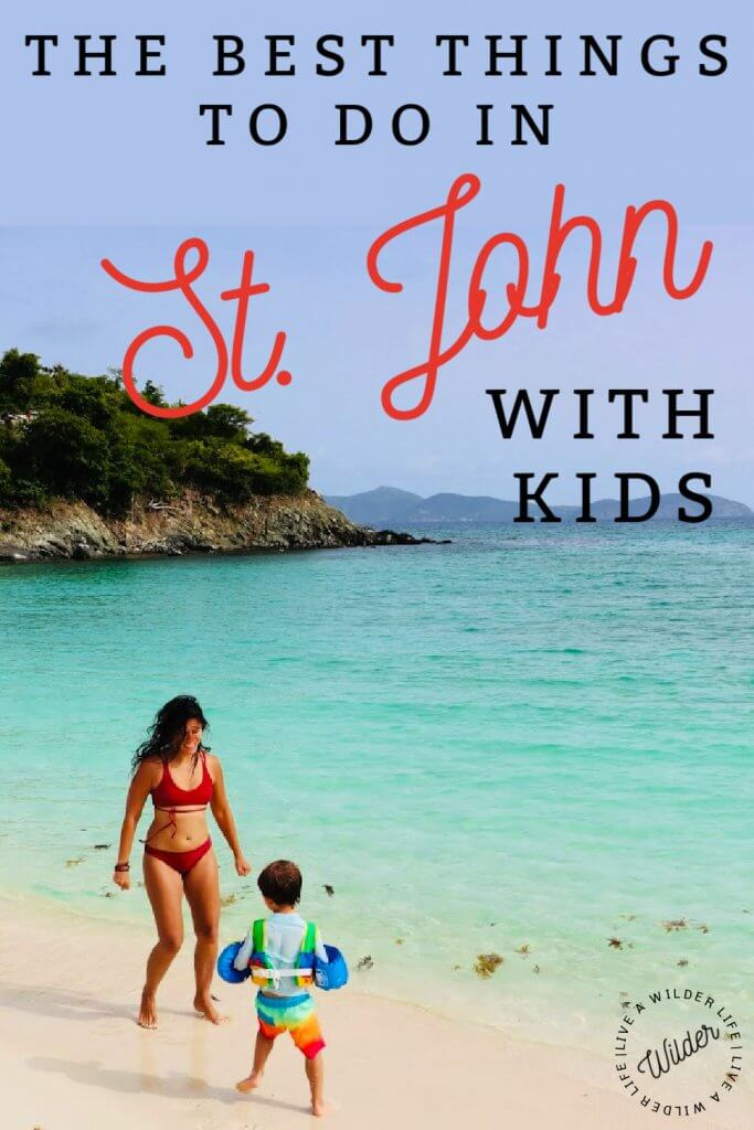"""Mother and son running around on perfect, blue Carribbean beach. Pinterest graphic with words including """"the best things to do in St. John with kids."""""""