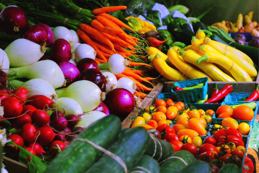 lush collection of fresh vegetables at farmers market